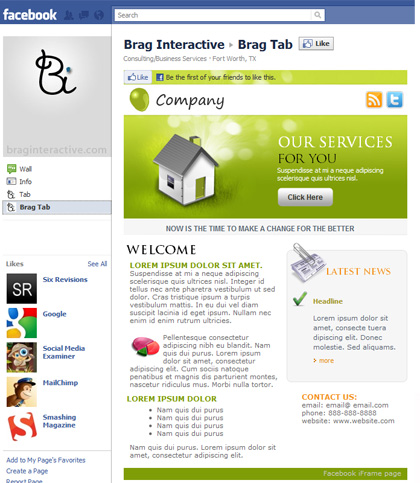 to add Facebook iFrame page