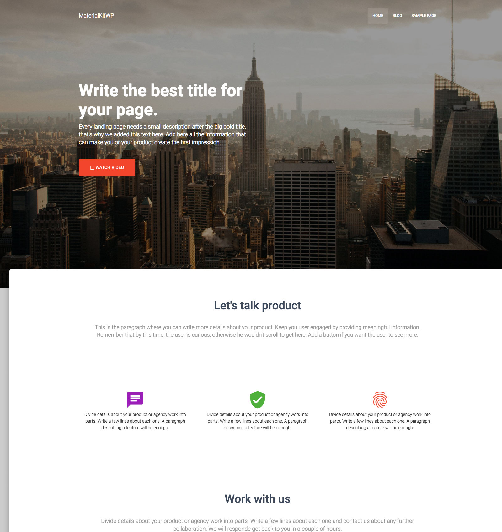 Material Design Bootstrap WordPress Theme